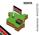 isometric map and flag of kenya....   Shutterstock .eps vector #641315722