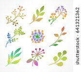 set of hand drawn flowers ... | Shutterstock .eps vector #641321362