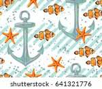 seamless pattern with fish ... | Shutterstock .eps vector #641321776