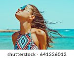 outdoor fashion photo of... | Shutterstock . vector #641326012