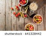 healthy breakfast. oatmeal... | Shutterstock . vector #641328442