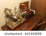 ancient medicine box and bottle ... | Shutterstock . vector #641332858
