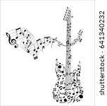 guitar shape with collection of ...   Shutterstock .eps vector #641340232