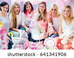 expecting mother with presents...   Shutterstock . vector #641341906