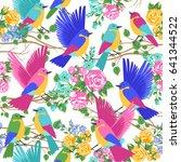 exotic birds in flowers pattern ... | Shutterstock .eps vector #641344522