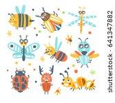 cute cartoon bugs set. funny... | Shutterstock .eps vector #641347882
