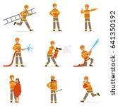 firefighters in orange uniform... | Shutterstock .eps vector #641350192