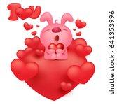 pink bunny emoticon cartoon... | Shutterstock .eps vector #641353996