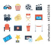 cinema vector icons in a flat... | Shutterstock .eps vector #641365558
