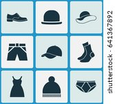 clothes icons set. collection... | Shutterstock .eps vector #641367892