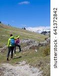 hiking   hikers walking on hike ...   Shutterstock . vector #641372842