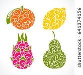ornamental decorative fruit... | Shutterstock .eps vector #641374156
