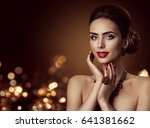 fashion model face and jewelry  ... | Shutterstock . vector #641381662
