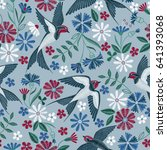 embroidery seamless pattern... | Shutterstock .eps vector #641393068