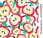 painted apple pattern. seamless ... | Shutterstock .eps vector #641403085