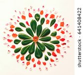 natural flower mandala flat lay ... | Shutterstock . vector #641408422
