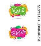 sale geometric banners set. | Shutterstock . vector #641413702