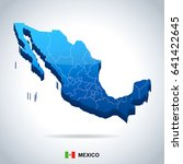 mexico map and flag   highly... | Shutterstock .eps vector #641422645