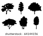 set of tree silhouettes for... | Shutterstock . vector #64144156