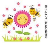 Two Cute Honey Bees Flying...