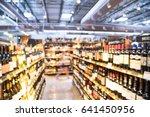 Blurred Image Wine Shelves Wit...