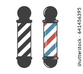 barber shop pole. vintage set.... | Shutterstock .eps vector #641456395