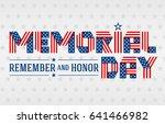 us memorial day greeting card.... | Shutterstock . vector #641466982