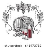 vector sketch of grapes  wine... | Shutterstock .eps vector #641473792