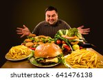 diet fat man who makes choice... | Shutterstock . vector #641476138