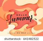 hello summer banner. melted 3d... | Shutterstock .eps vector #641482522
