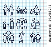set of 9 father outline icons... | Shutterstock .eps vector #641485246