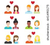 flat people icons valentine set.... | Shutterstock .eps vector #641490175