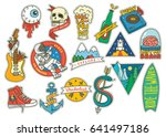 set of fashion patch with... | Shutterstock .eps vector #641497186