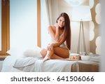 breakfast in bed with coffee... | Shutterstock . vector #641506066