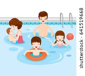 family relaxing in swimming... | Shutterstock .eps vector #641519668