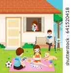happy family relaxing with...   Shutterstock .eps vector #641520418