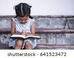 cute asian little girl closed... | Shutterstock . vector #641523472
