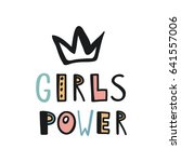 cute lettering card. girls power | Shutterstock .eps vector #641557006