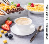 healthy breakfast with coffee ... | Shutterstock . vector #641557552