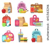 school lunch food boxes and... | Shutterstock . vector #641563246