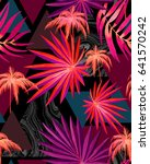 trendy young tropical pattern... | Shutterstock . vector #641570242