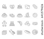 bakery icon set. bread cake pie ... | Shutterstock .eps vector #641579626