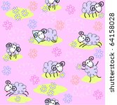 seamless pattern with cute sheep | Shutterstock .eps vector #64158028