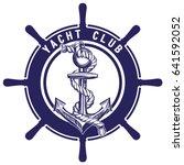 anchor and wheel emblem  sign ... | Shutterstock .eps vector #641592052