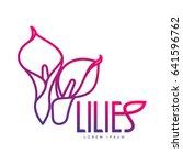 elegant lilies line logo... | Shutterstock .eps vector #641596762