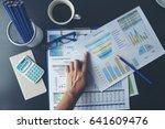 excel stats graph spreadsheet... | Shutterstock . vector #641609476