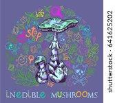 deadly amanita mushroom in... | Shutterstock .eps vector #641625202