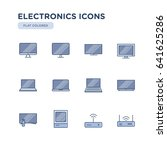 set of electronics related ... | Shutterstock .eps vector #641625286