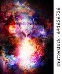 goddess woman in cosmic space.... | Shutterstock . vector #641626726