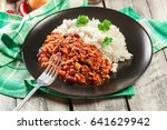 hot chili con carne with ground ... | Shutterstock . vector #641629942